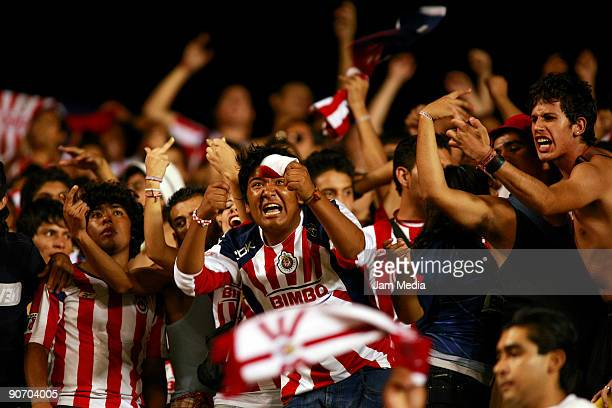 Chivas' fans cheer their team during the match against San Luis for the 2009 Opening tournament the closing stage of the Mexican Football League at...