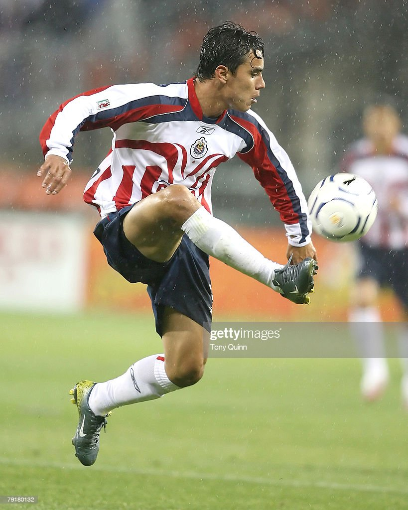 Chivas goalscorer Omar Bravo brings down the ball. With a dramatic ninetieth minutes goal, DC United tied CD Guadalajara 1-1 in the first leg of the CONCACAF Champions Cup semi-final in a driving rain storm at RFK stadium, in Washington DC on March 15 2007.