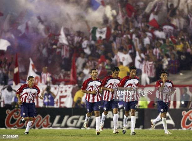 Chivas Guadalajara celebrate a goal by Diego Martinez for a 11 tie against Barcelona during the second half at the Los Angeles Memorial Coliseum on...