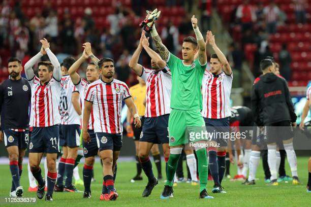 Chivas players celebrate their triumph during the seventh round match between Chivas and Atlas as part of the Torneo Clausura 2019 Liga MX at Akron...