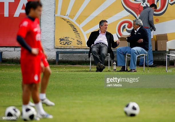 Chivas' president Jorge Vergara and sports president Rafael Lebrija during a training session at the Verde Valle on Junuary 5 2010 in Guadalajara...