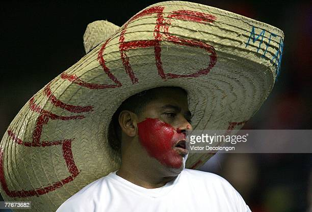 Chivas USA fan looks on prior to the Western Conference playoff game between the Kansas City Wizards and CD Chivas USA on November 3 2007 at the Home...