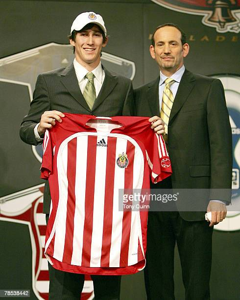 Chivas USA first draft choice Sacha Kljestan with commisioner Don Garber at the Pennsylvania Convention Center Philadelphia Pa Friday January 20th...