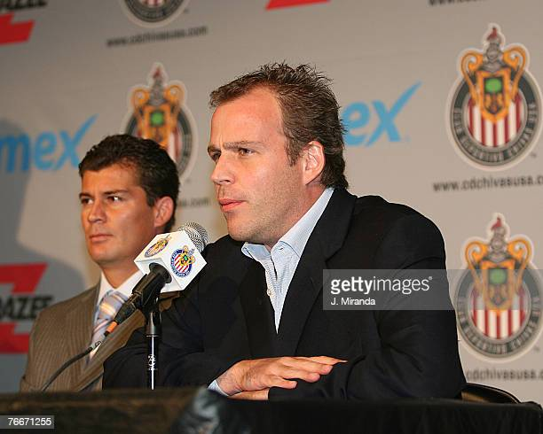 Chivas USA President and CoOwner Antonio Cue speaks to the media as Chivas USA's Legendary Mexican midfielder Ramon Ramirez Chivas USA's original...