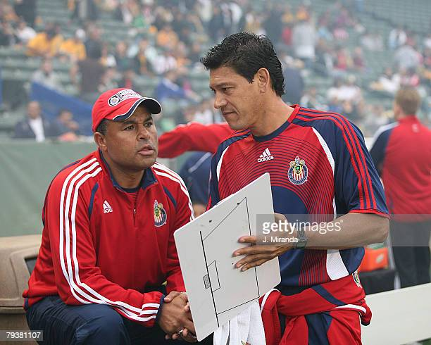 Chivas USA's coaches Zak Abdel and Martin Vasquez go over the lineup against the Los Angeles Galaxy June 8 2006 at The Home Depot Center in Carson