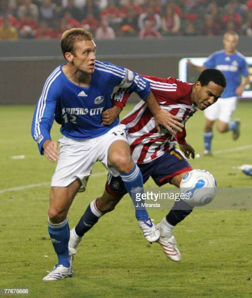Chivas USA's Maykel Galindo in action against Kansas City Wizards Jimmy Conrad. Kansas City Wizards held on to its single-goal series lead at the...