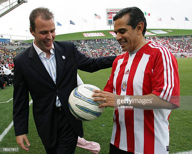 Chivas USA's President and Coowner Antonio Cue with Los Angeles Mayor Antonio Villaraigosa at The Home Depot Center May 28 2005 at The Home Depot...