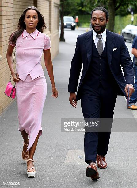 Chiwetel Ejiofor and his girlfriend Frances Aaternir arrive at Wimbledon on July 8 2016 in London England