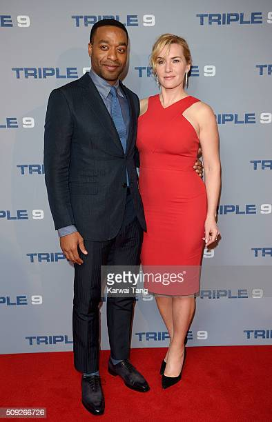 Chiwetel Ejiofor and Kate Winslet attend the Special Screening of 'Triple 9' at Ham Yard Hotel on February 9 2016 in London England