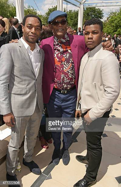 Chiwetel Ejiofor Samuel L Jackson and John Boyega attend the front row at Burberry Menswear Spring/Summer 2016 show at Kensington Gardens on June 15...