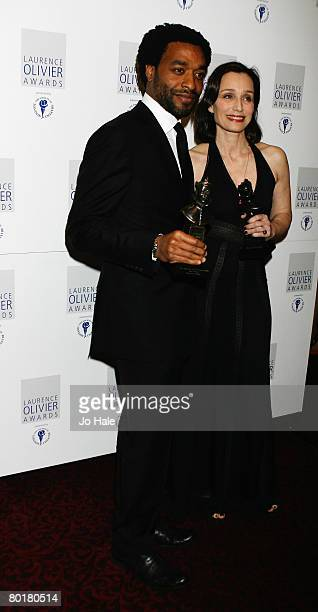 Chiwetel Ejiofor, winner of best actor for Othello and Kristin Scott Thomas, winner of best actress for The Seagull pose in the awards room at the...