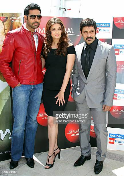 Chiyaan' Vikram Abhishek Bachchan and Aishwarya Rai Bachchan attend the 'Raavan' Photocall at the Salon Diane at The Majestic during the 63rd Annual...
