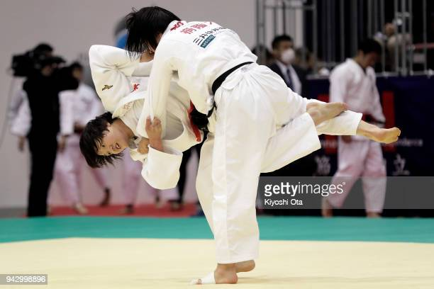 Chizuru Arai attempts to throw Nanami Asahi in the Women's 70kg match on day one of the All Japan Judo Championships by Weight Category at Fukuoka...