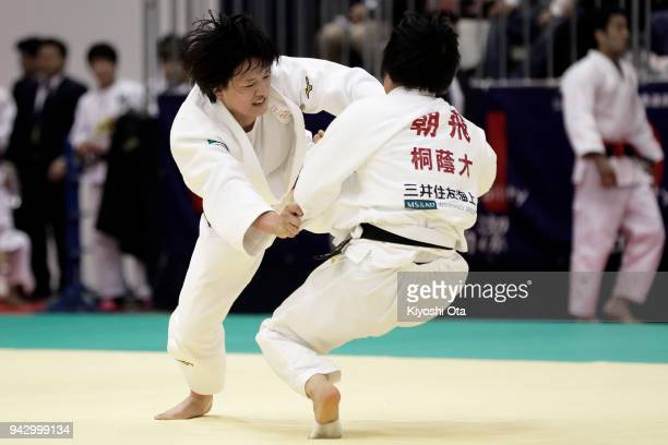 Chizuru Arai competes against Nanami Asahi in the Women's 70kg match on day one of the All Japan Judo Championships by Weight Category at Fukuoka...