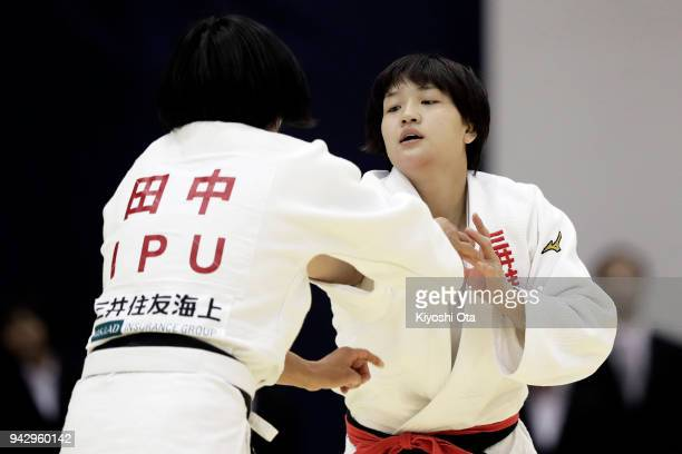 Chizuru Arai competes against Shiho Tanaka in the Women's 70kg semifinal match on day one of the All Japan Judo Championships by Weight Category at...