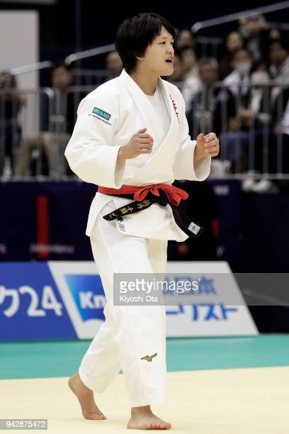 Chizuru Arai in action in the Women's 70kg final match against Yoko Ono on day one of the All Japan Judo Championships by Weight Category at Fukuoka...