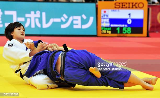 Chizuru Arai of Japan competes against Anna Bernholm of Sweden in the Women's 70kg final match on day two of the Grand Slam Osaka at Maruzen Intec...