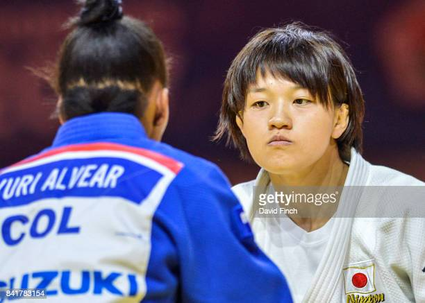 Chizuru Arai of Japan defeated former World champion Yuri Alvear of Colombia by a wazari to reach the u70kg final and the gold medal during the 2017...