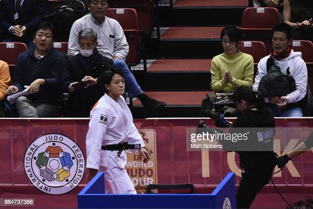 Chizuru Arai of Japan looks dejected after the Women's 70kg Final against Yoko Ono of Japan during day two of the Judo Grand Slam Tokyo at Tokyo...