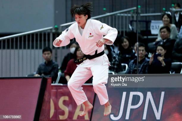 Chizuru Arai of Japan prepares for the Women's 70kg final match against Anna Bernholm of Sweden on day two of the Grand Slam Osaka at Maruzen Intec...