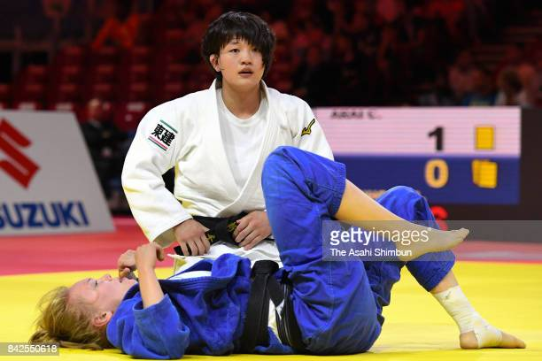 Chizuru Arai of Japan reacts after her victory over Anna Bernholm of Sweden in the Women's 70kg second round during day five of the World Judo...