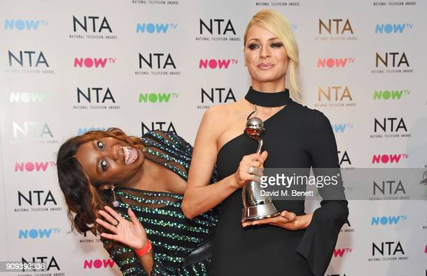 Chizzy Akudolu and Tess Daly accepting the Best Talent Show award for Strictly Come Dancing pose in the press room at the National Television Awards...