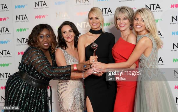 Chizzy Akudolu Shirley Ballas Tess Daly Ruth Langsford and Mollie King with the Talent Show award for 'Strictly Come Dancing' during the National...
