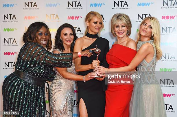 Chizzy Akudolu Shirley Ballas Tess Daly Ruth Langsford and Mollie King accepting the Best Talent Show award for 'Strictly Come Dancing' pose in the...