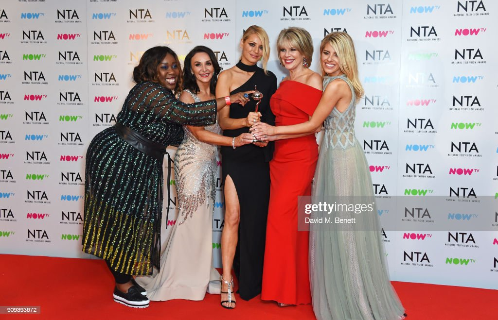 Chizzy Akudolu, Shirley Ballas, Tess Daly, Ruth Langsford and Mollie King, accepting the Best Talent Show award for 'Strictly Come Dancing', pose in the press room at the National Television Awards 2018 at The O2 Arena on January 23, 2018 in London, England.