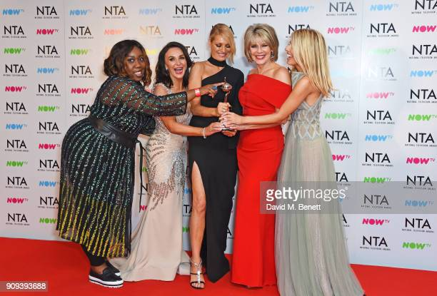 Chizzy Akudolu Shirley Ballas Tess Daly Ruth Langsford and Mollie King accepting the Best Talent Show award for Strictly Come Dancing pose in the...