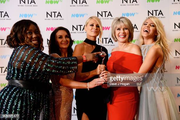 Chizzy Akudolu Shirley Ballas Tess Daly Ruth Langsford and Molly King from Strictly Come Dancing with the award for Talent Show at the National...