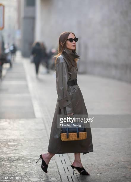 Chloé Harrouche is seen wearing olive coat Miu Miu bag outside Max Mara on Day 2 Milan Fashion Week Autumn/Winter 2019/20 on February 21 2019 in...