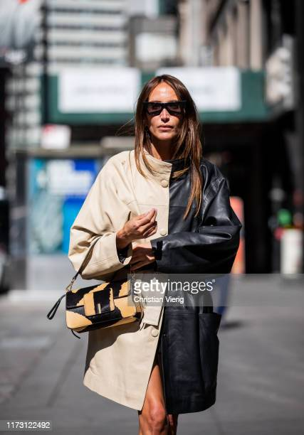 Chloé Harrouche is seen wearing two tone coat outside SelfPortrait during New York Fashion Week September 2019 on September 07 2019 in New York City