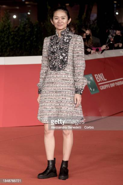 """Chloé Zhao attends the red carpet of the movie """"Eternals"""" during the 16th Rome Film Fest 2021 on October 24, 2021 in Rome, Italy."""