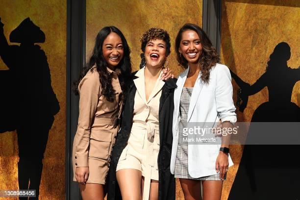 Chloé Zuel who plays Eliza Schuyler, Akina Edmonds who plays Angelica Schuyler and Elandrah Eramiha who plays Peggy Schuyler and Maria Reynolds pose...