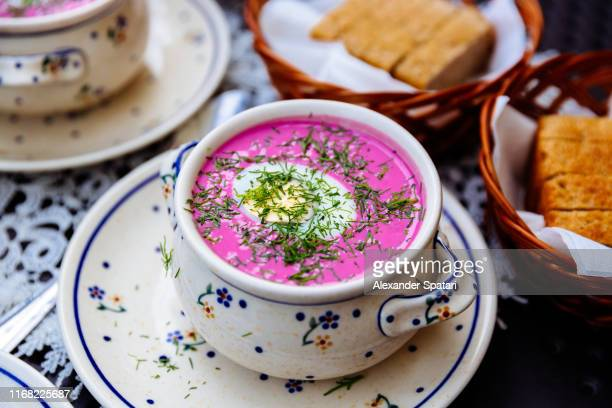 chlodnik - traditional polish cold beetroot soup with dill and boiled egg - polish culture stock pictures, royalty-free photos & images