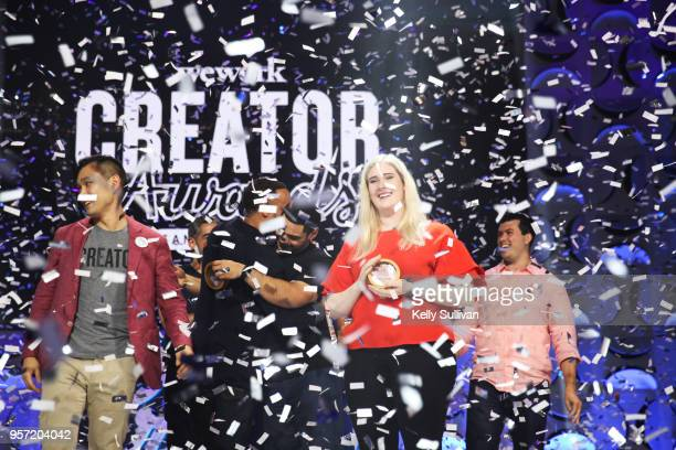 Chloe Alpert wins the business venture award at the WeWork San Francisco Creator Awards at Palace of Fine Arts on May 10 2018 in San Francisco...