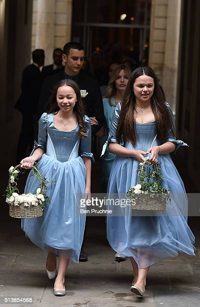 Chloe and Grace Helen Murdoch leave after the wedding of Jerry Hall to Rupert Murdoch at St Brides Church Fleet Street on March 5 2016 in London...