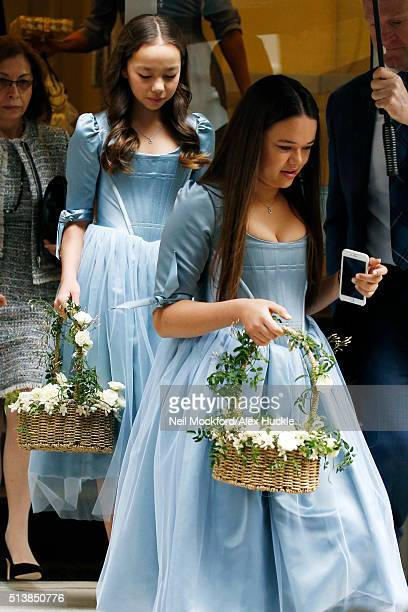 Chloe and Grace Helen Murdoch seen her father Rupert's home on the way to his wedding to Jerry Hall on March 5 2016 in London England