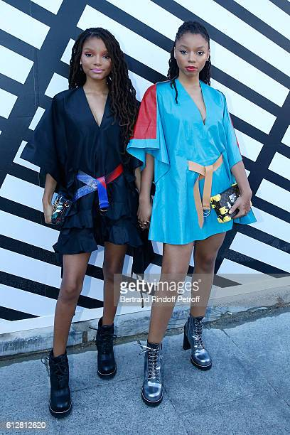 "Chloe Bailey and Halle Bailey aka ""Chloe & Halle"" attend the Louis Vuitton show as part of the Paris Fashion Week Womenswear Spring/Summer 2017 on..."