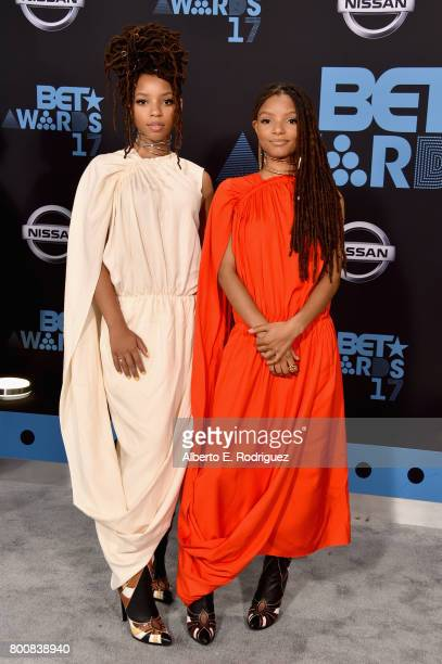 Chloe Bailey and Halle Bailey at the 2017 BET Awards at Microsoft Square on June 25 2017 in Los Angeles California