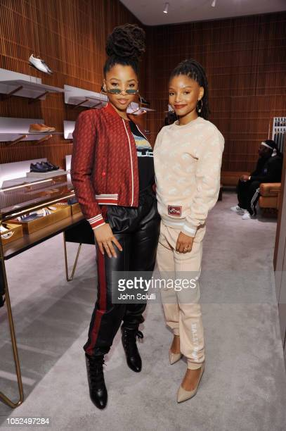 Chloe Bailey and Halle Bailey attend Swizz Beatz presents Bally x Shok1 at Bally on October 18 2018 in Beverly Hills California