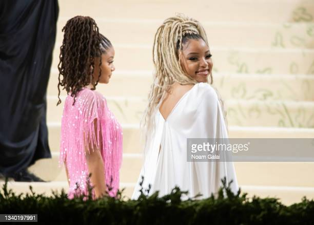 Chloe Bailey and Halle Bailey attend the 2021 Met Gala celebrating 'In America: A Lexicon of Fashion' at The Metropolitan Museum of Art on September...