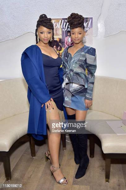 Chloe Bailey and Halle Bailey attend The Hollywood Reporter and Jimmy Choo Power Stylists Dinner at Avra Beverly Hills Estiatorio on March 12 2019 in...