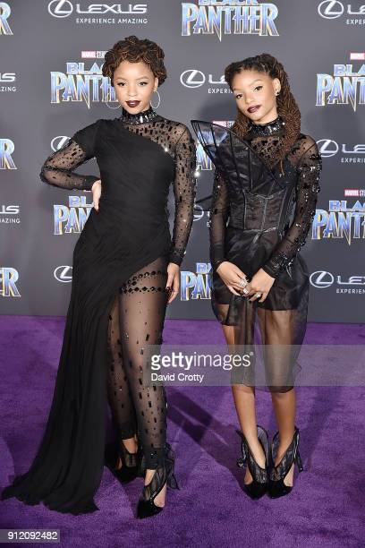 Chloe Bailey and Halle Bailey attend the Premiere Of Disney And Marvel's Black Panther Arrivals on January 29 2018 in Hollywood California