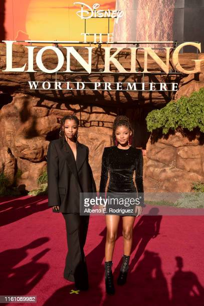 Chloe Bailey and Halle Bailey attend the World Premiere of Disney's THE LION KING at the Dolby Theatre on July 09 2019 in Hollywood California