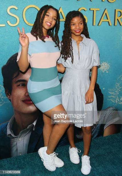 Chloe Bailey and Halle Bailey attend the World Premiere Of Warner Bros The Sun Is Also A Star at Pacific Theaters at the Grove on May 13 2019 in Los...