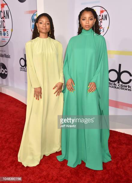 Chloe Bailey and Halle Bailey attends the 2018 American Music Awards at Microsoft Theater on October 9 2018 in Los Angeles California