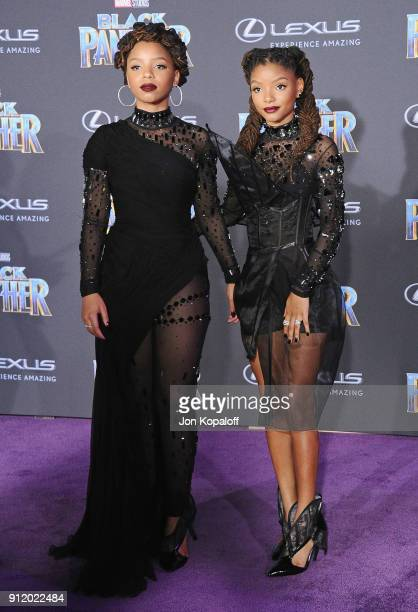 Chloe Bailey and Halle Bailey attends the Los Angeles Premiere 'Black Panther' at Dolby Theatre on January 29 2018 in Hollywood California