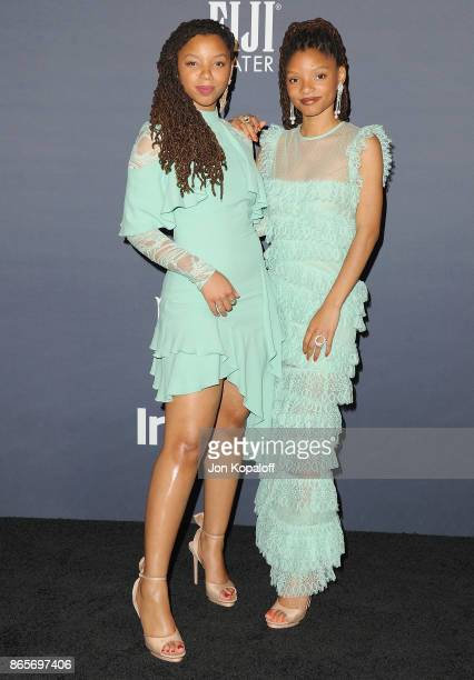 Chloe Bailey and Halle Bailey of Chloe x Halle arrive at the 3rd Annual InStyle Awards at The Getty Center on October 23 2017 in Los Angeles...
